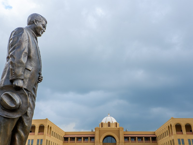 A statue of former Sen. Frank L. Malda overlooks the Texas A&M-San Antonio campus. Photo by Scott Ball.