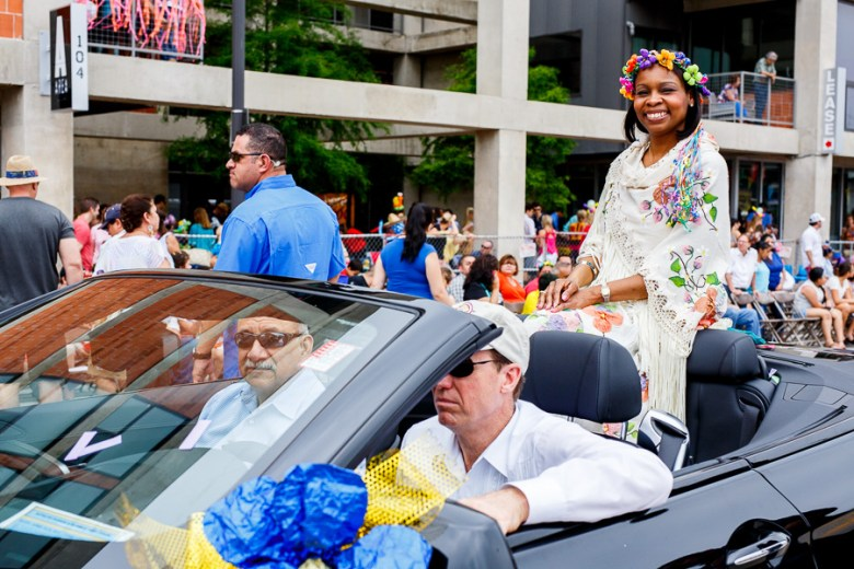 Mayor Ivy Taylor smiles during the 2015 Battle of Flowers Parade in downtown San Antonio. Photo by Scott Ball.