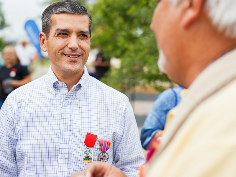 Mayoral candidate Mike Villarreal talks with guests during the 2nd annual Webhead Cascarón Bash at Alamo Beer Company. Photo by Scott Ball.