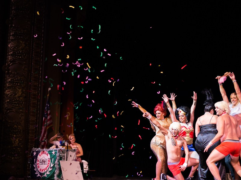 Confetti shoots in the air at a skit representing Kim Kardashian during the 50th Cornyation at the Charline McCombs Empire Theatre. Photo by Scott Ball.