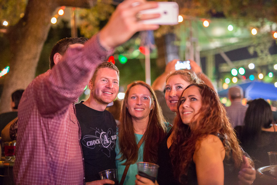 Friends take a selfie at the La Villita Historic Arts Village during Maverick Music Festival 2015.