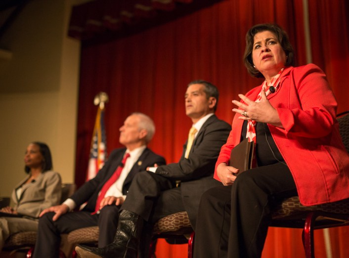 Leticia Van de Putte speaks during the second Pints and Politics at The Pearl Brewery. Photo by Scott Ball.