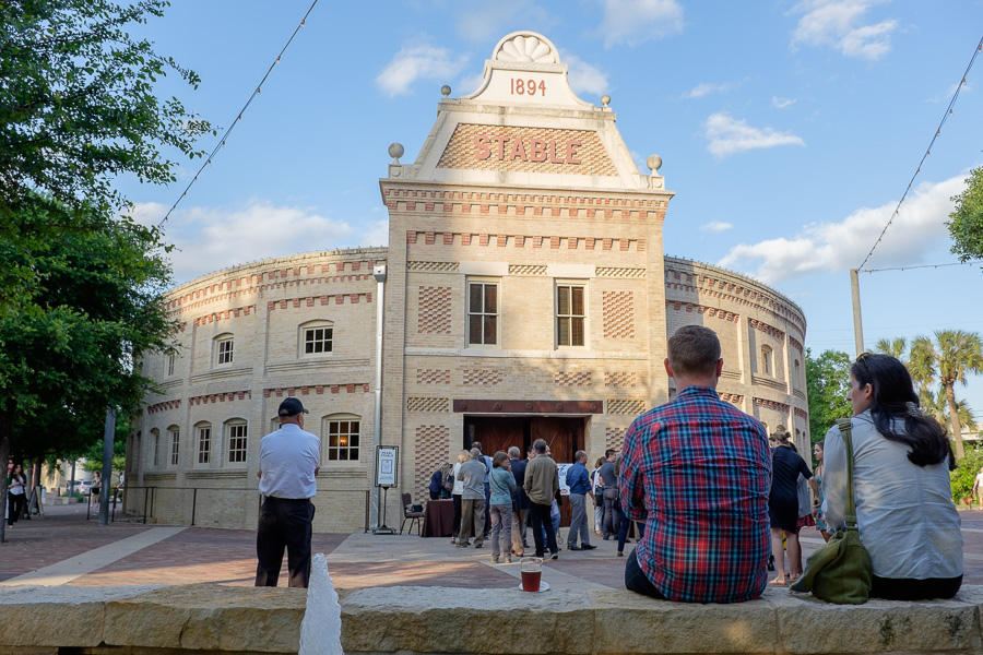 Lines gather in front of The Pearl Stable during Pints and Politics at The Pearl Brewery. Photo by Scott Ball.