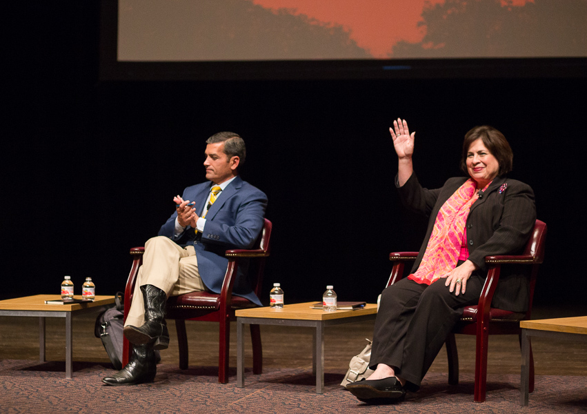 Candidate Leticia Van de Putte waves to the crowd at during a mayoral forum at Trinity University. Photo by Scott Ball.