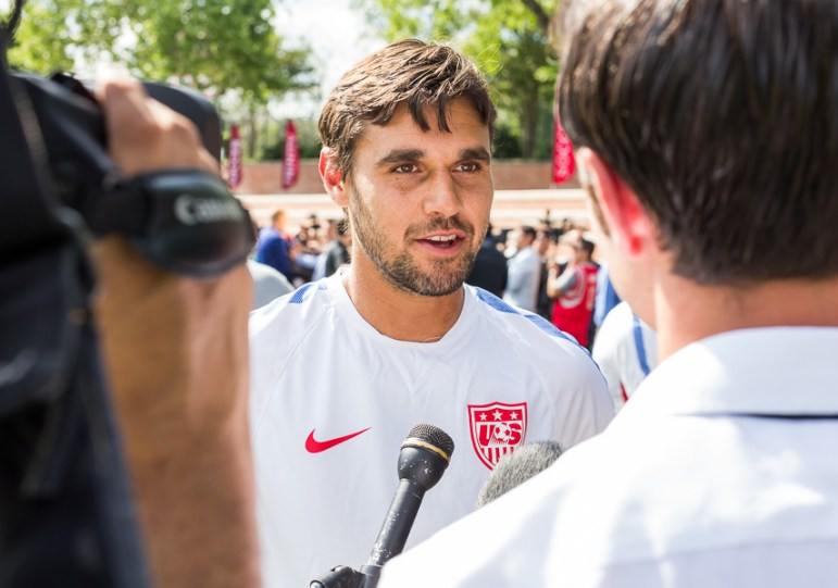 United States Soccer player Chris Wondolowski speaks with press at a practice hosted by Trinity University. Photo by Scott Ball.