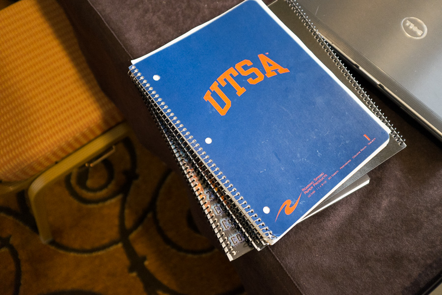 A UTSA journal during the 2015 National Collegiate Cyber Defense Competition. Photo by Scott Ball.