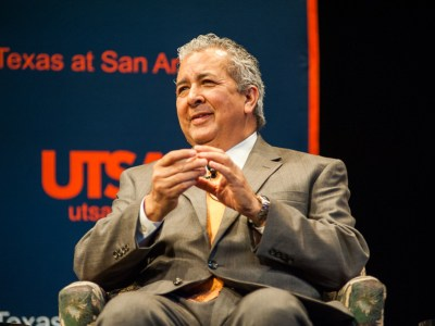 """President and CEO of SAWS Robert Puente at the panel discussion """"Conversations on Water,"""" at UTSA. Photo by Scott Ball."""