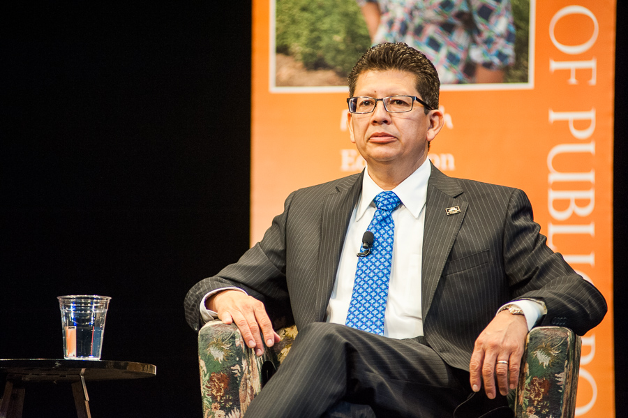 """San Antonio Chamber of Commerce President and CEO Richard Perez at the panel discussion """"Conversations on Water,"""" at UTSA. Photo by Scott Ball."""
