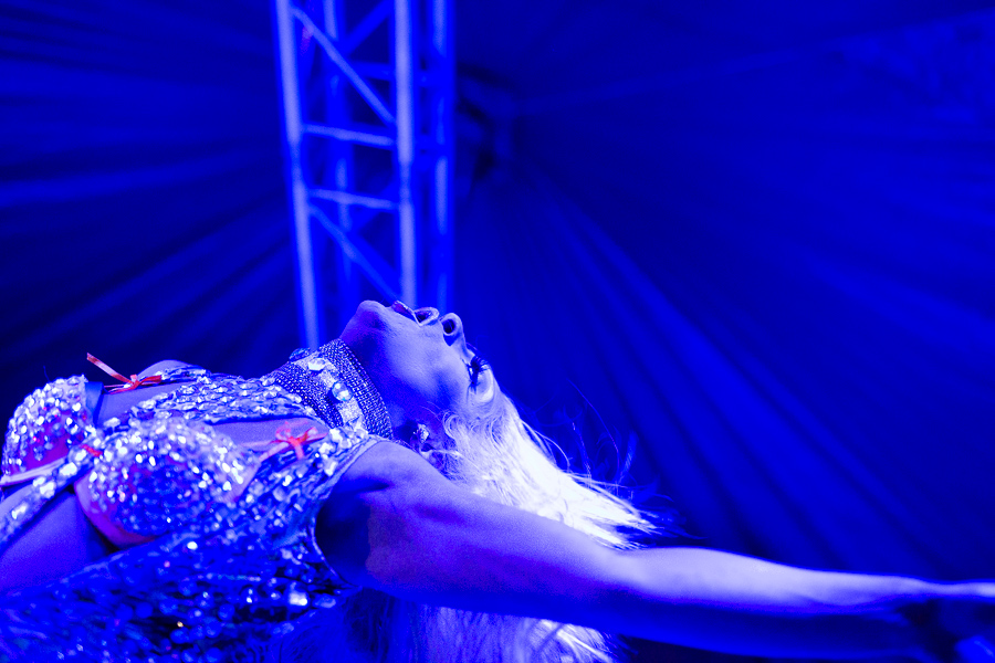 Sasha Taylor performs on stage during WEBB Party ¡Ultima Fiesta! at the Lambermont Estate.