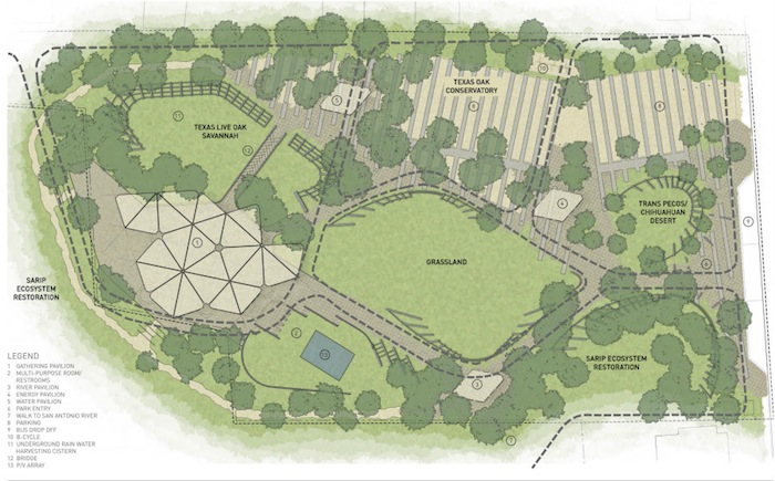 Site plan of Confluence Park courtesy of Lake/Flato Architects and Matsys Design.