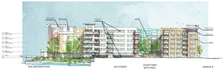 A conceptual sketch of 815 Avenue B. Courtesy of Lake/Flato Architects.