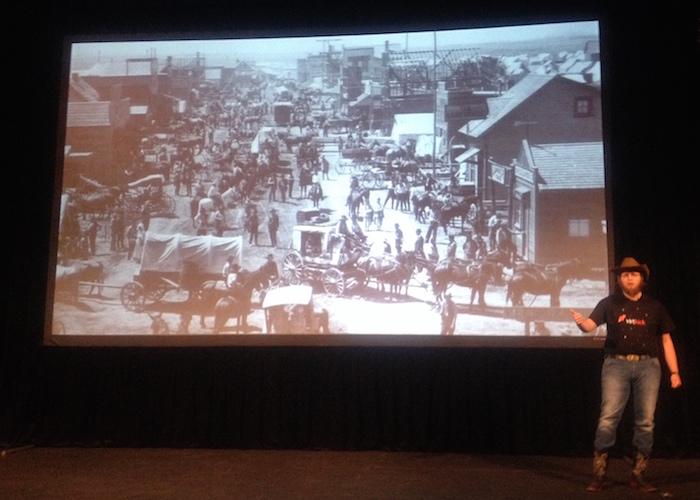 "Virtkick, the ""Polish Cowboys,"" present at TechStars Demo Day. Photo by Lily Casura."
