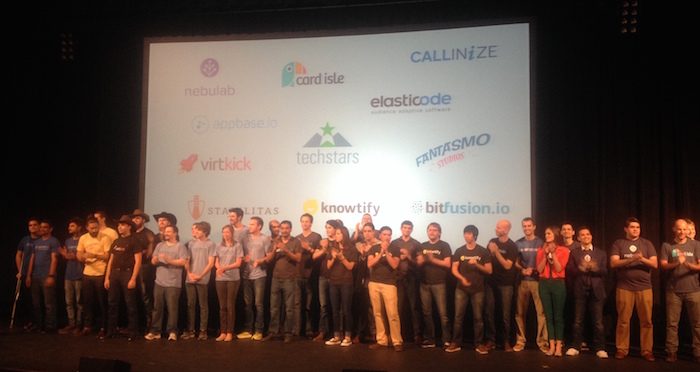 Techstars Cloud 2015 program participants on stage at the Aztec. Photo by Lily Casura.