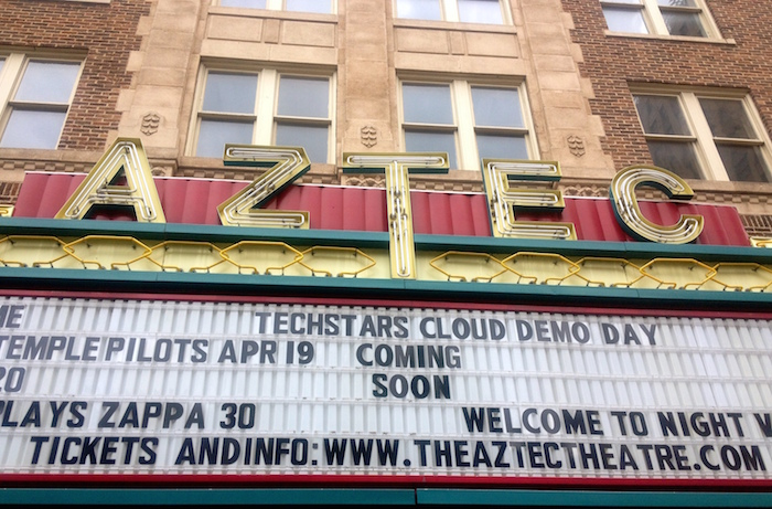 Marquee at the Aztec Theatre for Techstars Cloud Demo Day. Photo by Lily Casura.