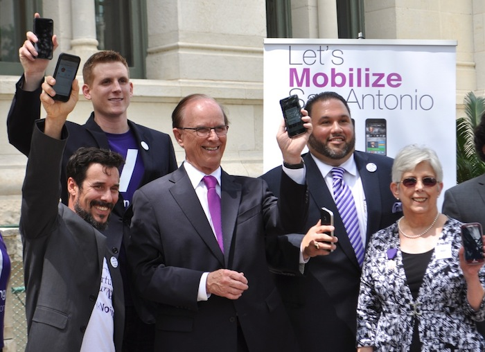 ThinkVoting, OCI Group, LWV, and Bexar County Representatives during the Voting App Launch at City Hall. Photo by Iris Dimmick.
