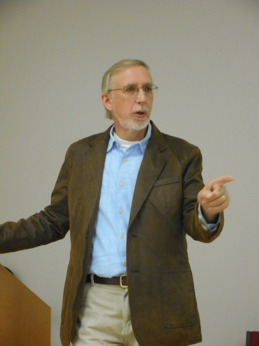 Tim Draves makes a point - San Antonio has many ties to Civil War leadership. Photo by Don Mathis.