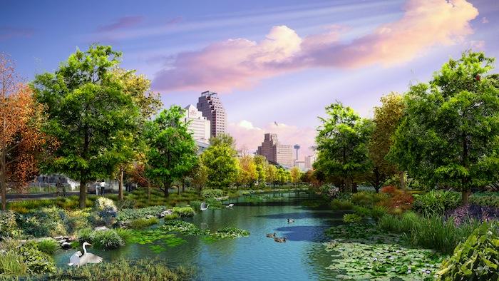 """Villa Lagunilla"" stretch of the San Pedro Creek Improvements Project. Rendering courtesy of Muñoz & Company."