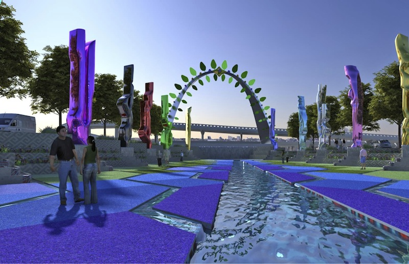 """Preliminary design rendering for a """"Tree of Life"""" element of the San Pedro Creek Improvements Project."""