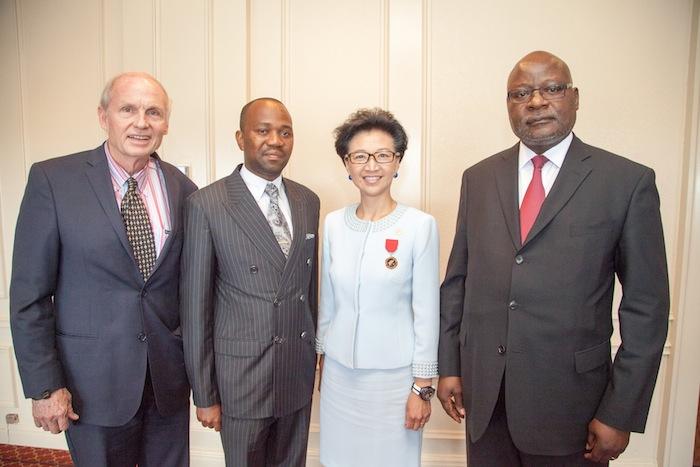 From left: Honorary Consul of Namibia Bob Braubach, Mayor Muesee Kazapua, Elisa Chan, Ambassador Martin Andjaba at the Friendship City Agreement signing ceremony. Courtesy photo.