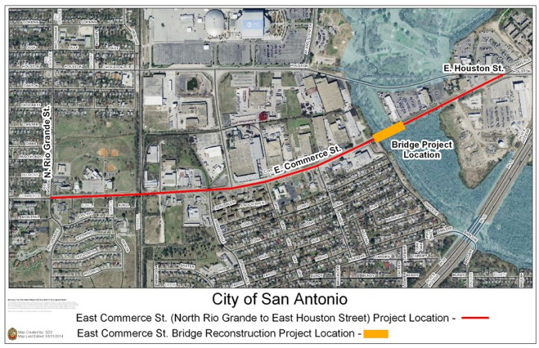 The location of the bridge project on East Commerce Street. Courtesy Photo.