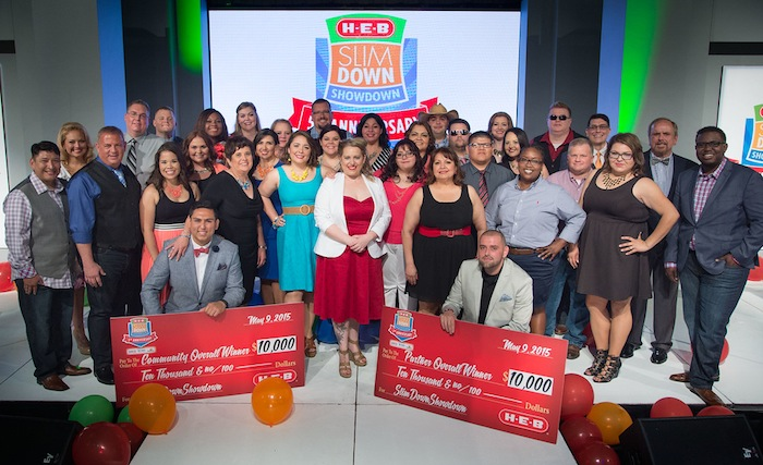 """""""H-E-B Slim Down Showdown winners and contestants pose for a group photo, Saturday, May 9, 2015, in San Antonio, Texas."""""""