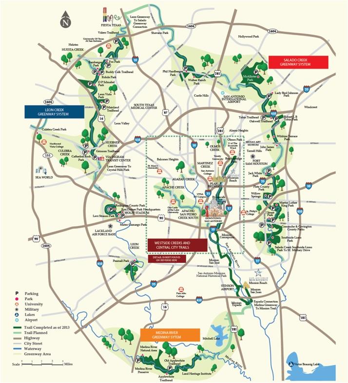 Howard Peak and Westide Creek Map of San Antonio
