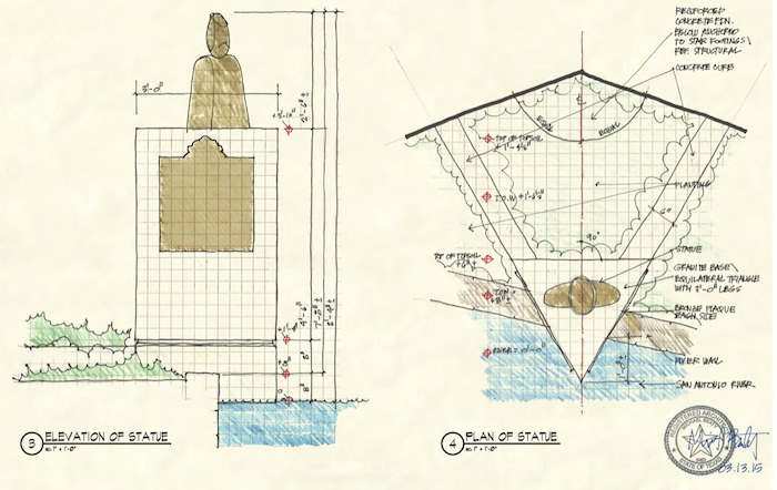 Plans for the Robert H.H Hugman bust on the River Walk. Sketch courtesy of Beaty Palmer and Associates.