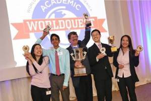 (Pictured above, left to right) Katie Mansfield, Nabil Kapasi, Keystone Advisor Ray Boryczka, Chris Zhu, and Emily Ye at the San Antonio Academic WorldQuest March competition held at Rackspace. Photo by Larry Walther.