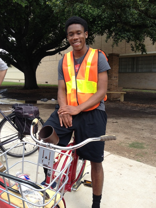 Senior John Jackson helped with a trial run of home deliveries. Photo by Junda Woo.