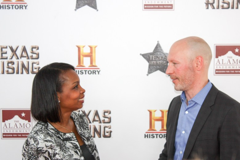 Mayor Ivy Taylor greets Dirk Hoogstra, executive vice president and general manager of the History network, on the red carpet. Photo by Kay Richter.