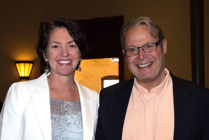 The Nature Conservancy Chief Scientist Peter Kareiva and Texas Director Laura Huffman at the Pearl Stable on Thursday evening. Photo by Elisabel Balderrama.