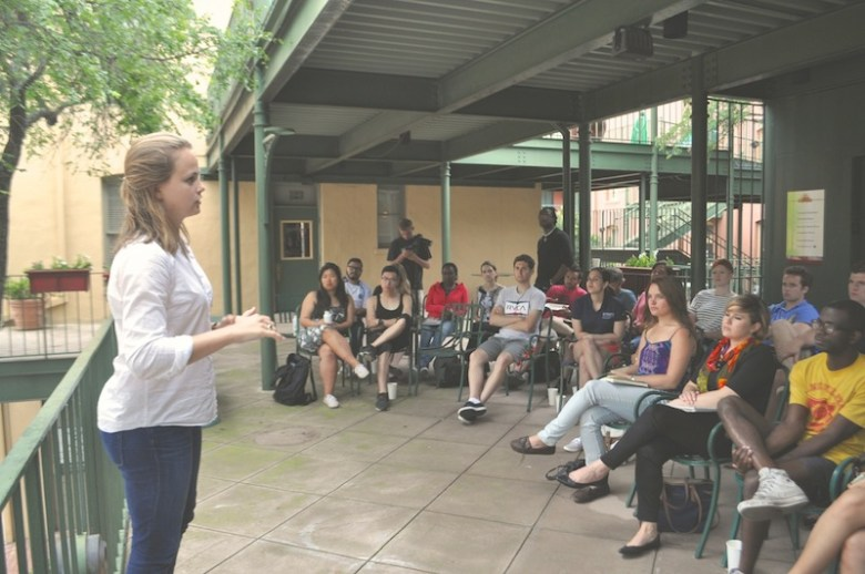 80/20 Foundation Operations Manager Emily Bowe explains how the CodeHS curiculum works. Photo by Iris Dimmick.