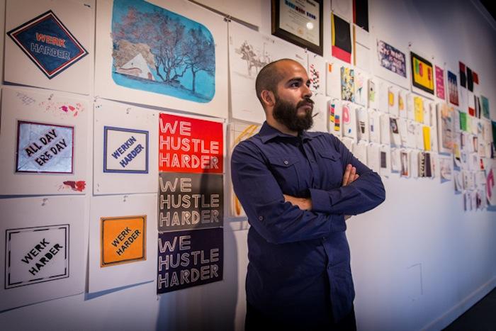 Raul Gonzalez at MFA thesis exhibition in December 2014. Photo by Antonio Guillen