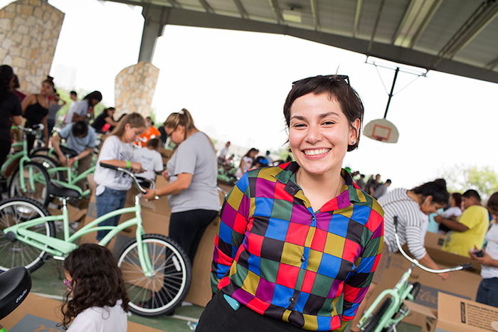 Monica Sosa of The Martinez Street Women's Shelter poses for a photo during the Chiquitas Ciclistas event in the Eastside. Photo by Rachel Chaney