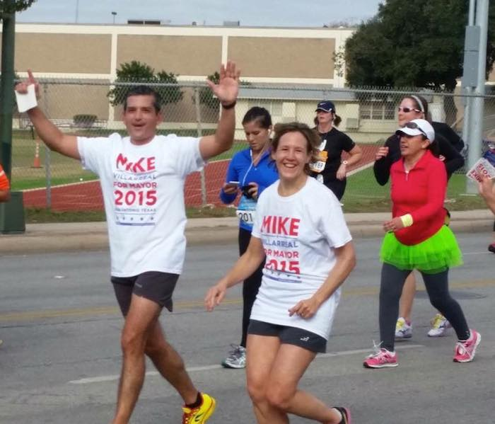 Mike Villarreal and Jeanne Russell during the 2014 Rock 'n' Roll Marathon. Photo courtesy of Facebook.