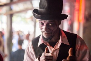 An entertainer at Ripley's Haunted Adventure poses for a photo. Photo by Scott Ball.