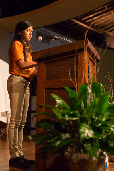 IDEA South Flores suden Angelina Guzman gives a message during the Idea Public Schools luncheon. Photo by Scott Ball.