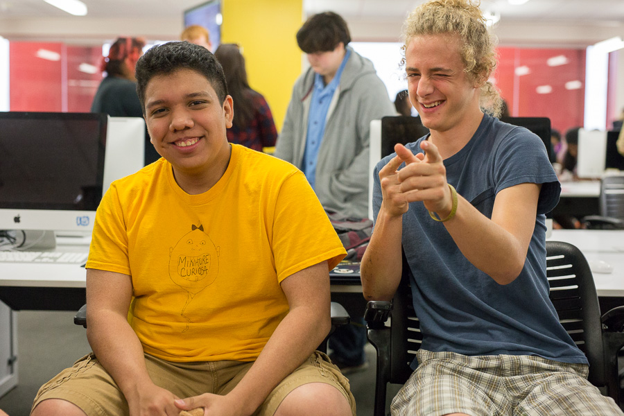 Adam Zapata (left) and Zachary Pacheo pose for a photo at the newly opened Teen Library in the Central Library. Photo by Scott Ball.