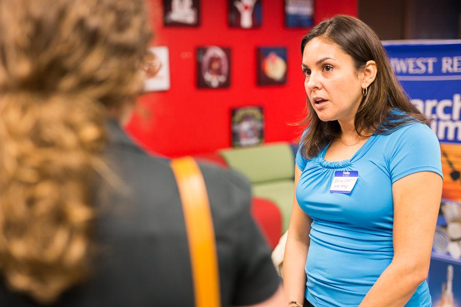 Leslie Martin of Argo Group talks with reporter Bekah McNeel. Photo by Scott Ball.