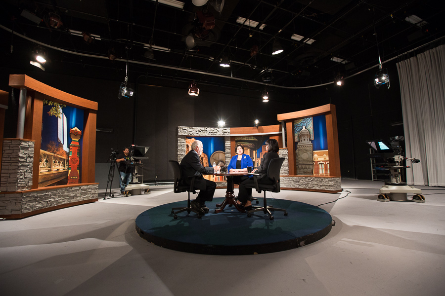 Rick Casey, Leticia Van de Putte, and Ivy Taylor discuss at the KLRN studios. Photo by Scott Ball.