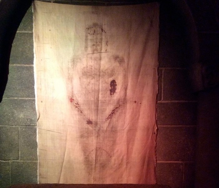 A replica of the Shroud of Turin at Immersive Planet's Shroud of Turin touring exposition in San Antonio in 2014. Courtesy photo.