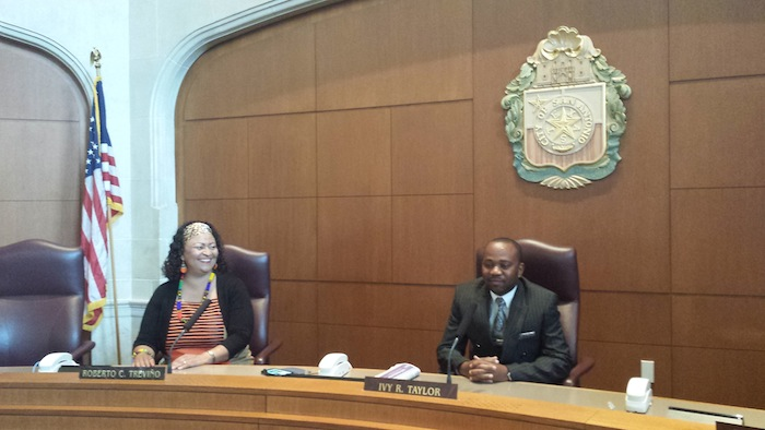 Windhoek Councilmember Brunhilde Cornelius and Windhoek Mayor Muesee Kazapua take their counterpart's seats in the San Antonio City Council Chambers. Courtesy photo.