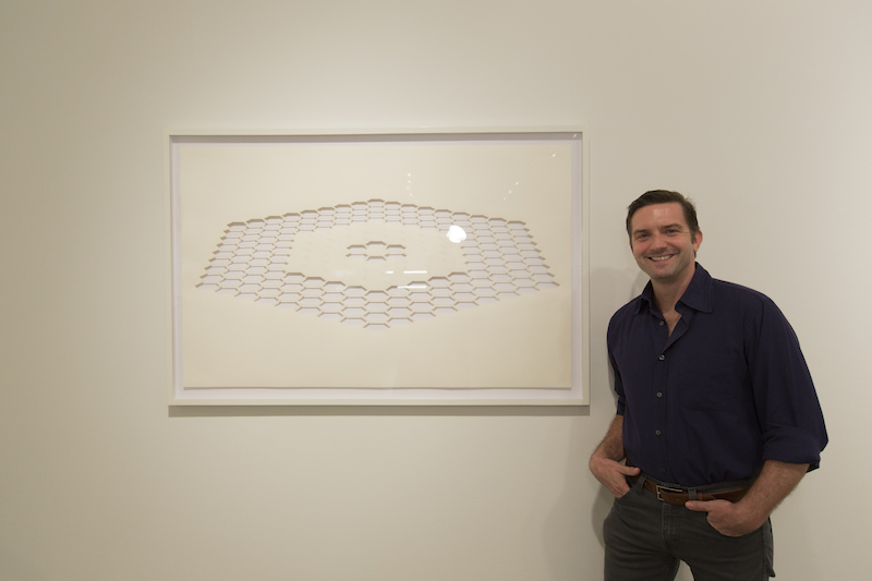 Benjamin McVey with his work at Blue Star Contemporary Art Museum. Photo by Jeffrey Burton for Blue Star Contemporary.