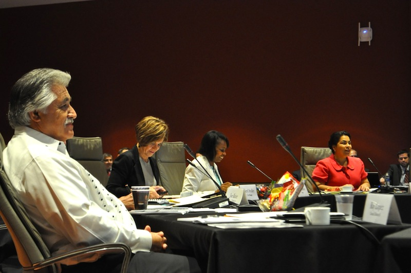 From left: Councilmember Ray Lopez (D6), City Manager Sheryl Sculley, Mayor Ivy Taylor, and Councilmember Rebecca Viagran settle in to the FY 2016 budget meeting. Photo by Iris Dimmick.