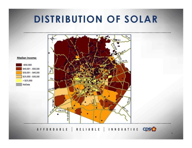 Geographically, solar installations are more common in higher-income neighborhoods, according to CPS Energy.