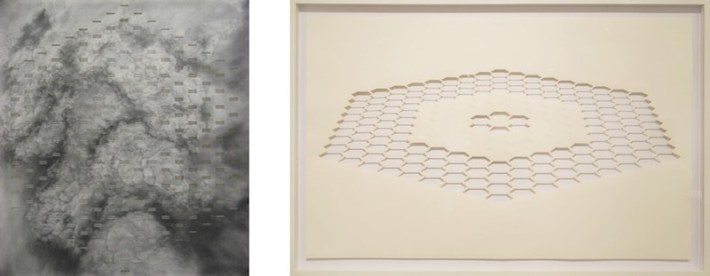 """Works by Benjamin McVey from left: """"Fractures II, """"2015, graphite on paper, 30 x 27 in., on view at Radius Gallery and """"Fractured Space I,"""" 2015, graphite on cut paper, 30 x 48 in., on view at Blue Star Contemporary Art Museum."""