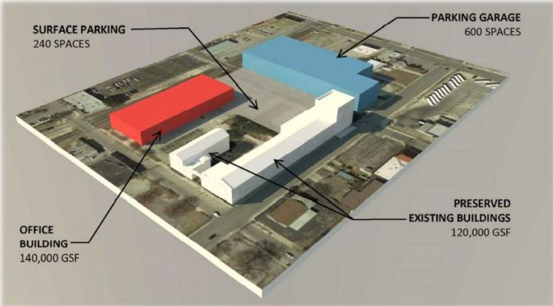Proposed site plan for the G.J. Sutton complex. Graphic by RVK Architects.