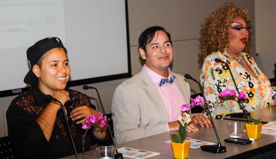 Saakred (left), Jade Esteban (middle), Tencha La Jefa (right) listen to a question. Photo by Kay Richter.
