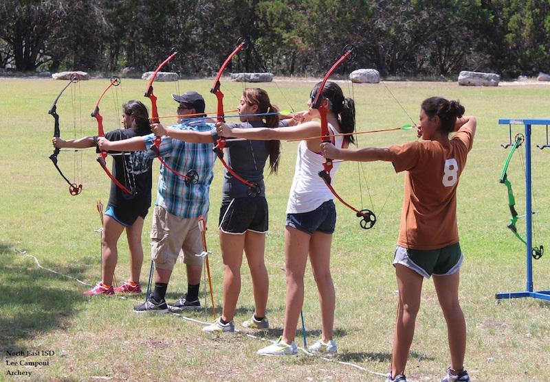 Students practice archery. Photo courtesy of NEISD.