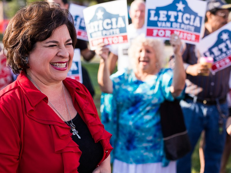 Leticia Van de Putte smiles at the crowd. Photo by Scott Ball.
